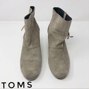 TOMS Grey Suede Platform Wedged Size 9 GUC